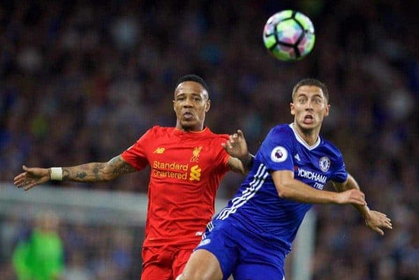 LONDON, ENGLAND - Friday, September 16, 2016: Liverpool's Nathaniel Clyne in action against Chelsea's Eden Hazard during the FA Premier League match at Stamford Bridge. (Pic by David Rawcliffe/Propaganda)
