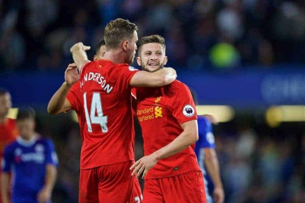 LONDON, ENGLAND - Friday, September 16, 2016: Liverpool's Adam Lallana celebrates after the 2-1 victory over Chelsea with team-mate captain Jordan Henderson during the FA Premier League match at Stamford Bridge. (Pic by David Rawcliffe/Propaganda)