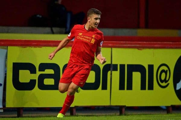 STEVENAGE, ENGLAND - Monday, September 19, 2016: Liverpool's Cameron Brannagan celebrates scoring the third goal against Tottenham Hotspur during the FA Premier League 2 Under-23 match at Broadhall. (Pic by David Rawcliffe/Propaganda)