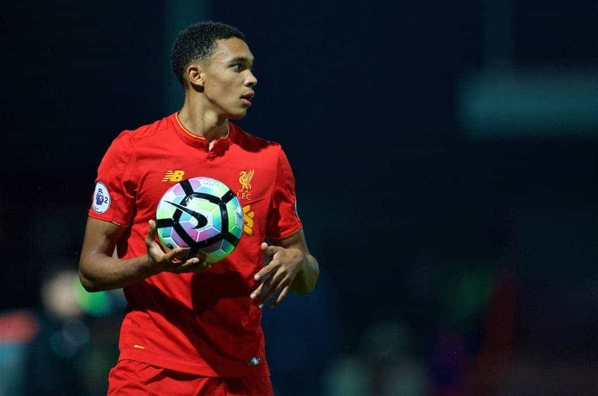 STEVENAGE, ENGLAND - Monday, September 19, 2016: Liverpool's Trent Alexander-Arnold in action against Tottenham Hotspur during the FA Premier League 2 Under-23 match at Broadhall. (Pic by David Rawcliffe/Propaganda)