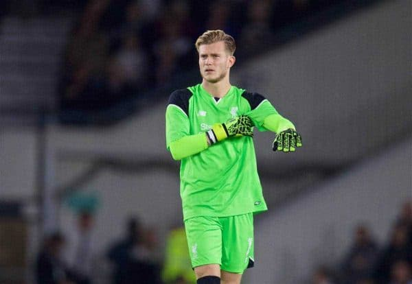 Liverpool's goalkeeper Loris Karius in action against Derby County during the Football League Cup 3rd Round match at Pride Park. (Pic by David Rawcliffe/Propaganda)