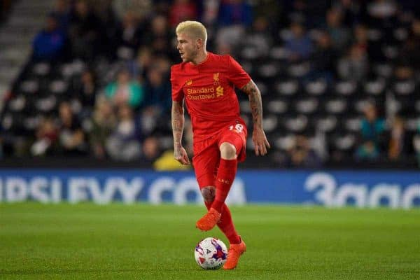 DERBY, ENGLAND - Tuesday, September 20, 2016: Liverpool's Alberto Moreno, with dyed bleach blonde hair, in action against Derby County during the Football League Cup 3rd Round match at Pride Park. (Pic by David Rawcliffe/Propaganda)