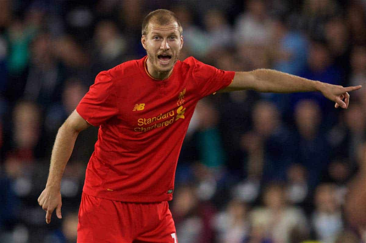 DERBY, ENGLAND - Tuesday, September 20, 2016: Liverpool's Ragnar Klavan in action against Derby County during the Football League Cup 3rd Round match at Pride Park. (Pic by David Rawcliffe/Propaganda)