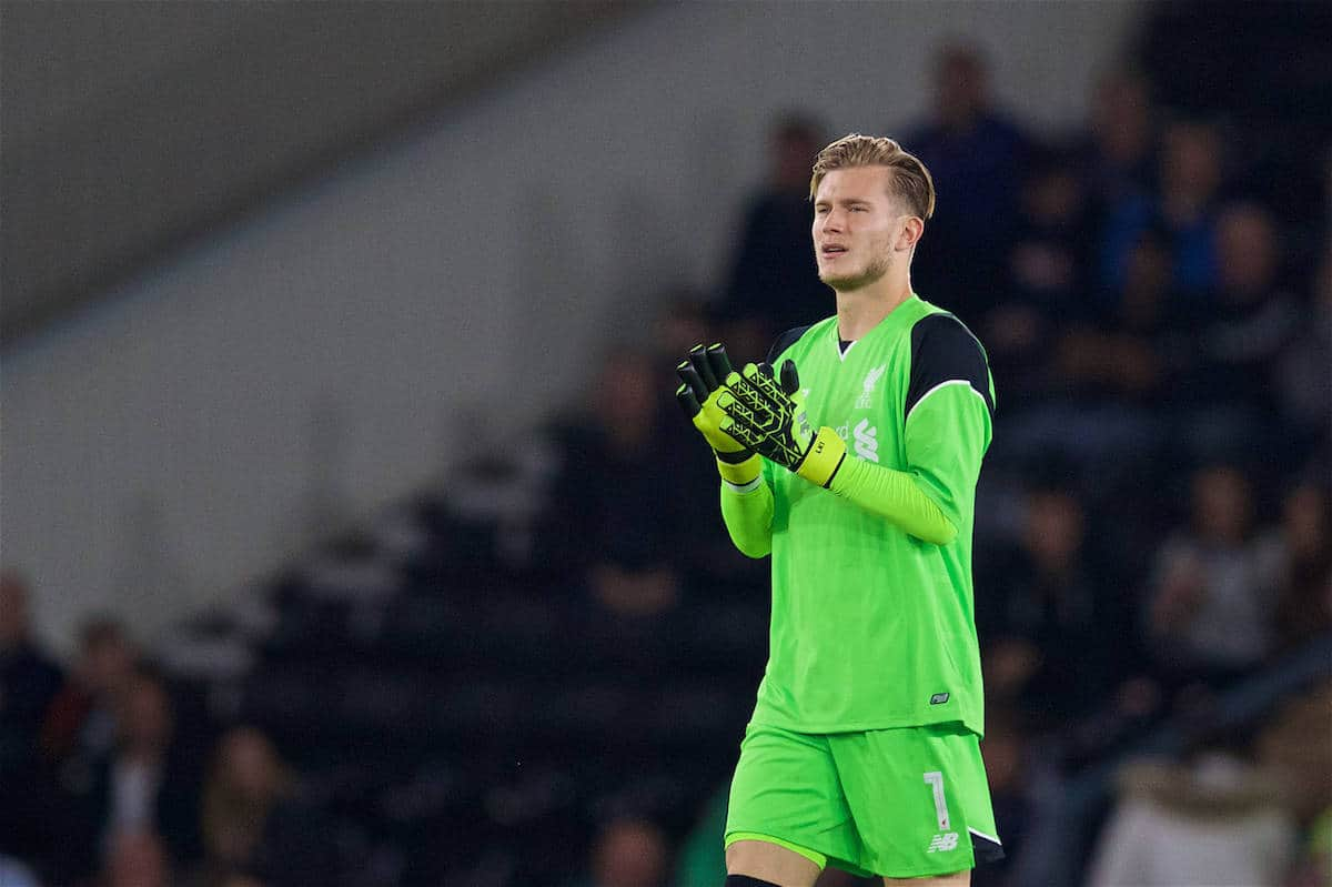 DERBY, ENGLAND - Tuesday, September 20, 2016: Liverpool's goalkeeper Loris Karius in action against Derby County during the Football League Cup 3rd Round match at Pride Park. (Pic by David Rawcliffe/Propaganda)
