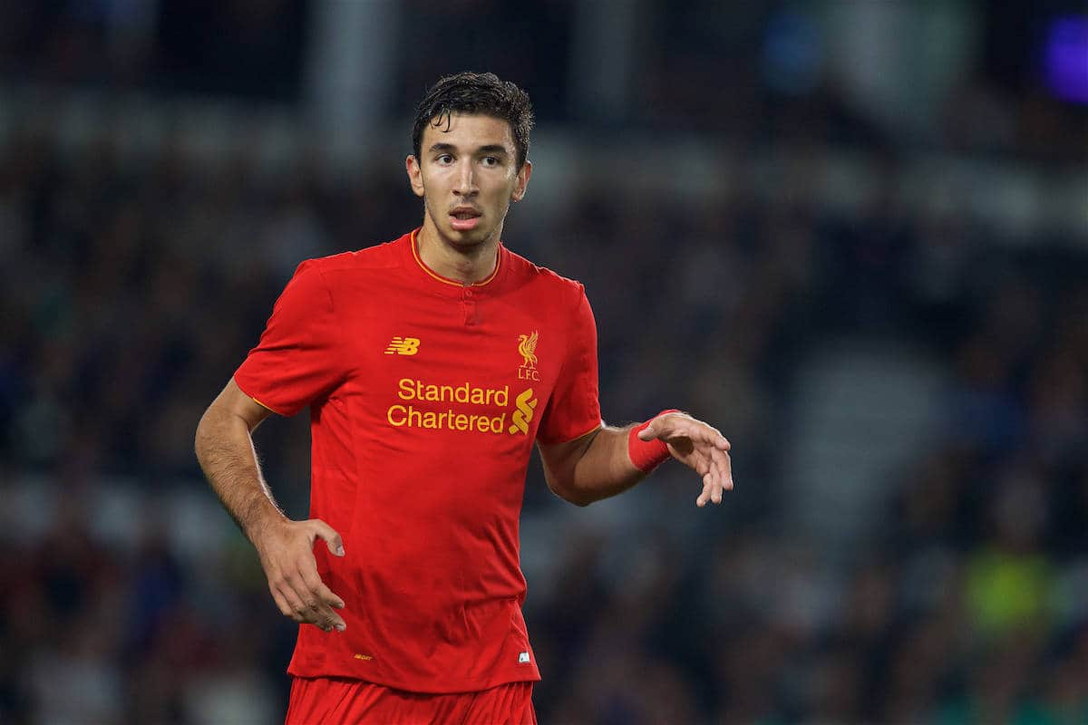 DERBY, ENGLAND - Tuesday, September 20, 2016: Liverpool's Marko Grujic in action against Derby County during the Football League Cup 3rd Round match at Pride Park. (Pic by David Rawcliffe/Propaganda)