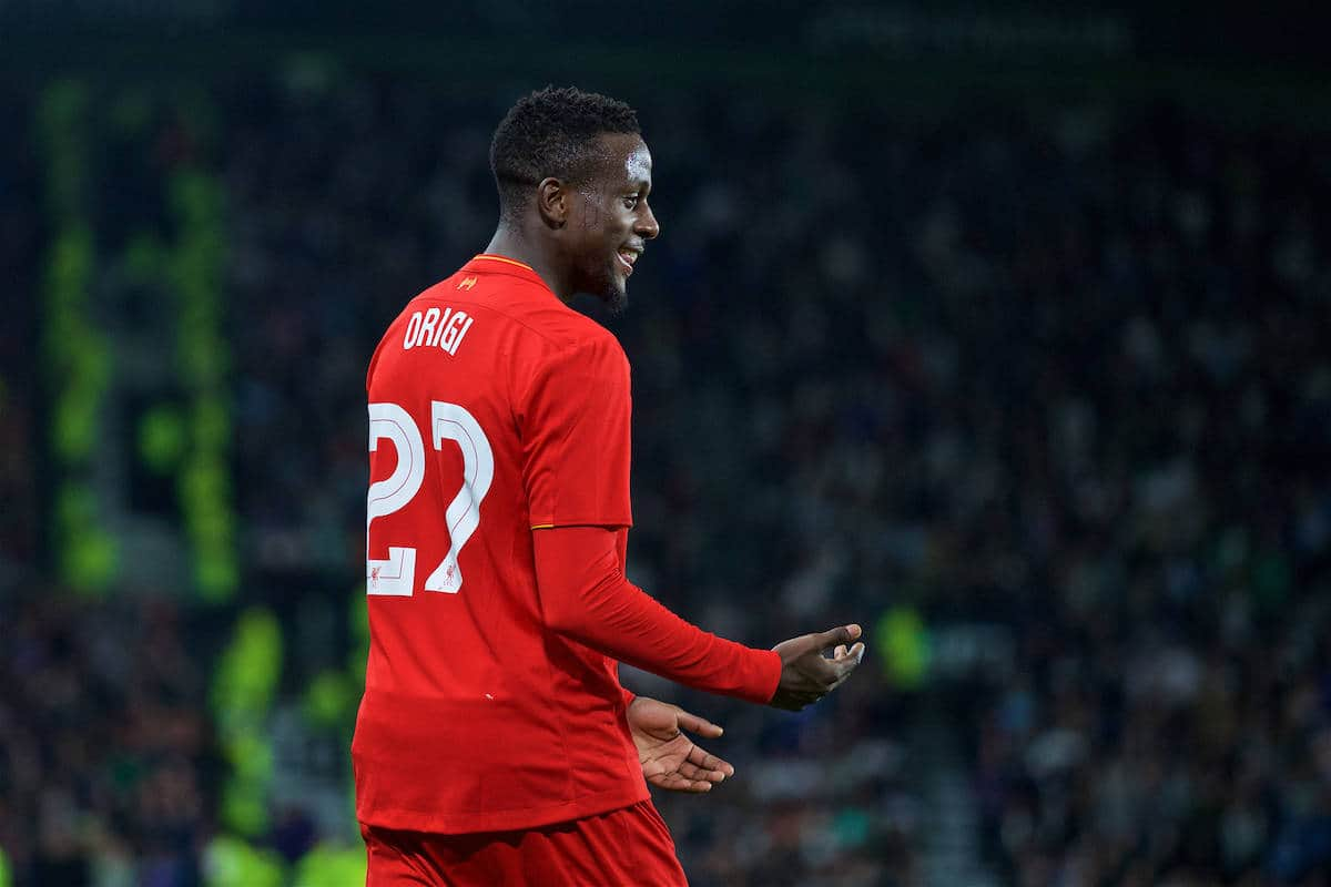 DERBY, ENGLAND - Tuesday, September 20, 2016: Liverpool's Divock Origi celebrates scoring the third goal against Derby County during the Football League Cup 3rd Round match at Pride Park. (Pic by David Rawcliffe/Propaganda)