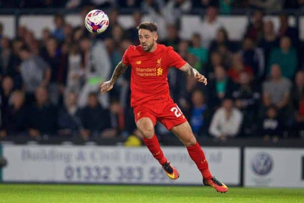 DERBY, ENGLAND - Tuesday, September 20, 2016: Liverpool's Danny Ings in action against Derby County during the Football League Cup 3rd Round match at Pride Park. (Pic by David Rawcliffe/Propaganda)