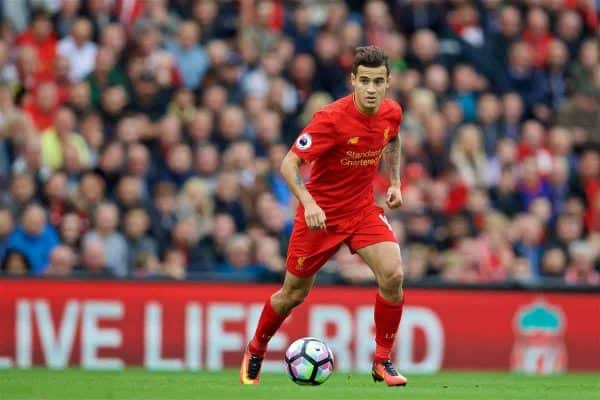 LIVERPOOL, ENGLAND - Saturday, September 24, 2016: Liverpool's Philippe Coutinho Correia in action against Hull City during the FA Premier League match at Anfield. (Pic by David Rawcliffe/Propaganda)