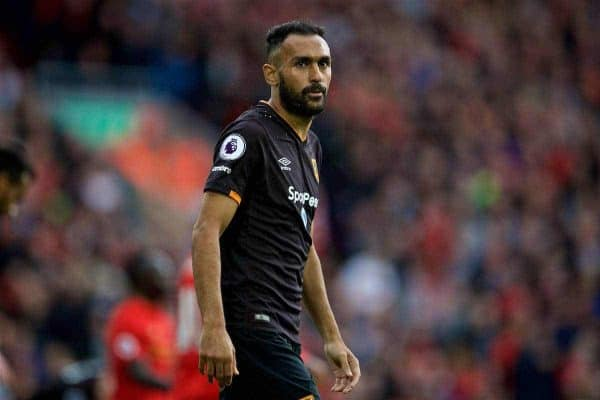 LIVERPOOL, ENGLAND - Saturday, September 24, 2016: Hull City's Ahmed Elmohamady looks dejected as he is shown a red card and sent off for deliberate hand-ball during the FA Premier League match against Liverpoolat Anfield. (Pic by David Rawcliffe/Propaganda)