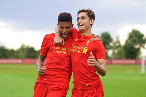 KIRKBY, ENGLAND - Saturday, September 24, 2016: Liverpool's Yan Dhanda [R] celebrates scoring the first equalising goal against Everton with team-mate Rhian Brewster during the Under-18 FA Premier League match at the Kirkby Academy. (Pic by David Rawcliffe/Propaganda)