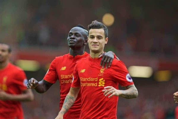 LIVERPOOL, ENGLAND - Saturday, September 24, 2016: Liverpool's Philippe Coutinho Correia celebrates scoring the fourth goal against Hull City with team-mate Sadio Mane during the FA Premier League match at Anfield. (Pic by David Rawcliffe/Propaganda)