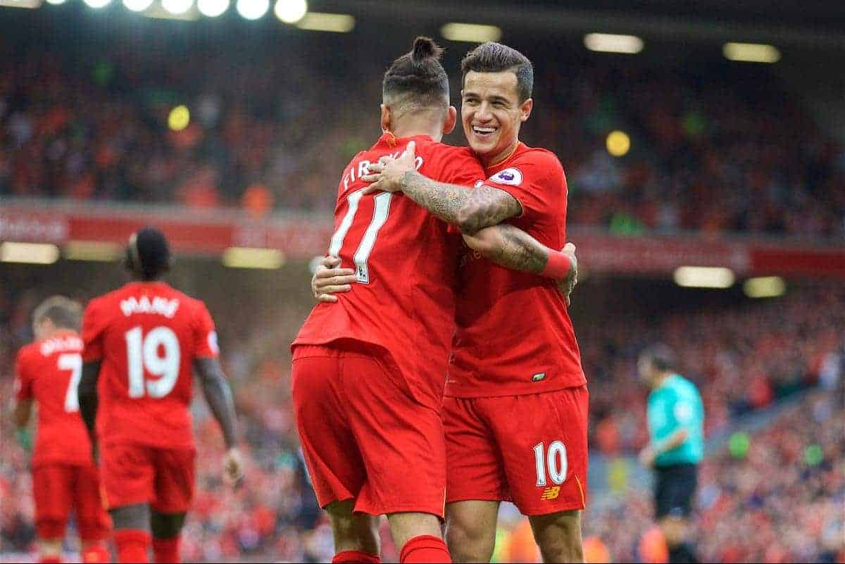 LIVERPOOL, ENGLAND - Saturday, September 24, 2016: Liverpool's Philippe Coutinho Correia celebrates scoring the fourth goal against Hull City with team-mate Roberto Firmino during the FA Premier League match at Anfield. (Pic by David Rawcliffe/Propaganda)