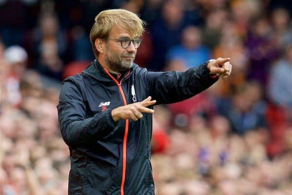 LIVERPOOL, ENGLAND - Saturday, September 24, 2016: Liverpool's manager Jürgen Klopp during the FA Premier League match against Hull City at Anfield. (Pic by David Rawcliffe/Propaganda)