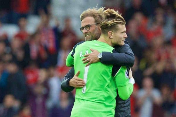LIVERPOOL, ENGLAND - Saturday, September 24, 2016: Liverpool's manager Jürgen Klopp hugs goalkeeper Loris Karius after the 5-1 victory over Hull City during the FA Premier League match at Anfield. (Pic by David Rawcliffe/Propaganda)
