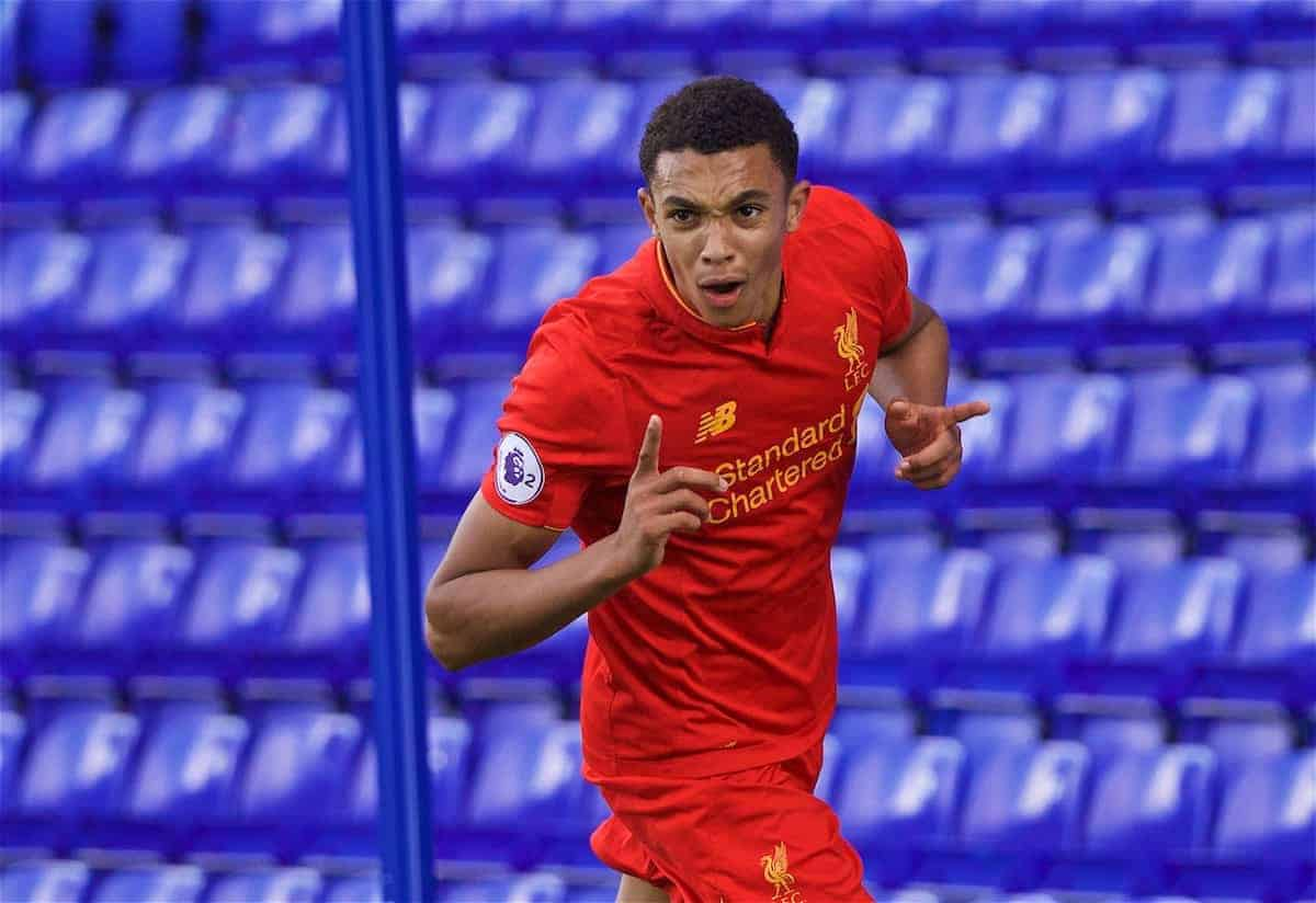 BIRKENHEAD, ENGLAND - Sunday, September 25, 2016: Liverpool's Trent Alexander-Arnold celebrates scoring the third goal against Sunderland during the FA Premier League 2 Under-23 match at Prenton Park. (Pic by David Rawcliffe/Propaganda)