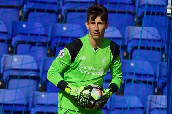 Liverpool's goalkeeper Kamil Grabara in action against Sunderland during the FA Premier League 2 Under-23 match at Prenton Park. (Pic by David Rawcliffe/Propaganda)