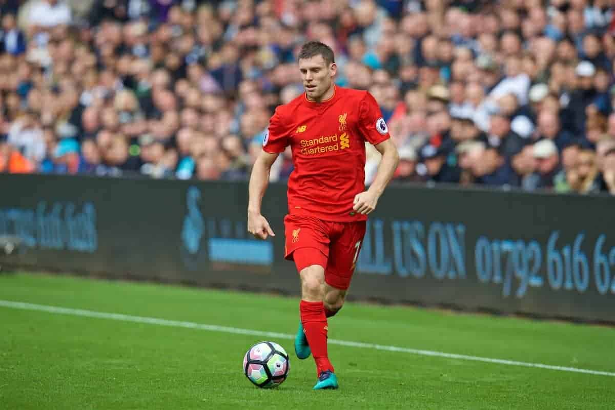 LIVERPOOL, ENGLAND - Saturday, October 1, 2016: Liverpool's James Milner in action against Swansea City during the FA Premier League match at the Liberty Stadium. (Pic by David Rawcliffe/Propaganda)