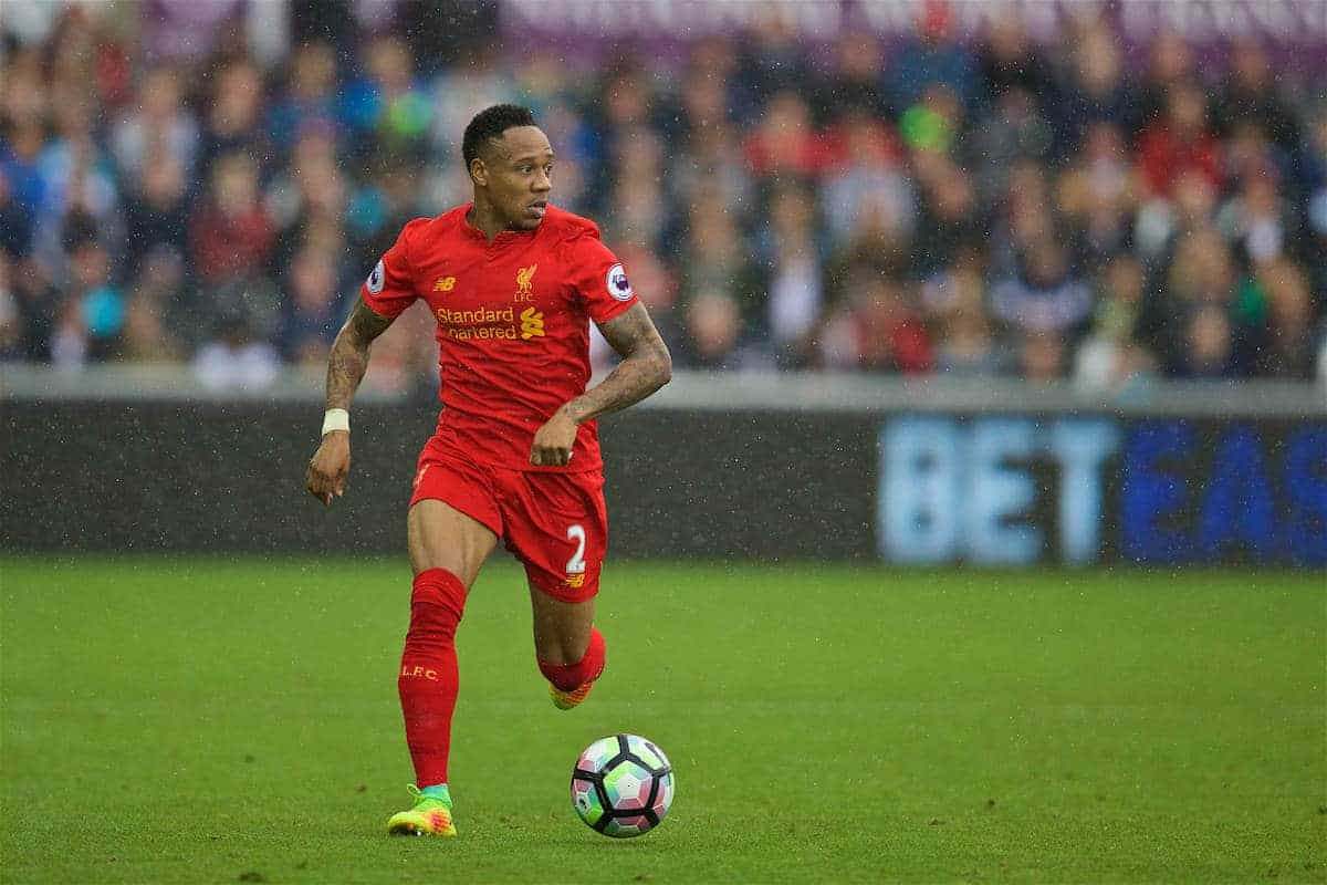 LIVERPOOL, ENGLAND - Saturday, October 1, 2016: Liverpool's Nathaniel Clyne in action against Swansea City during the FA Premier League match at the Liberty Stadium. (Pic by David Rawcliffe/Propaganda)
