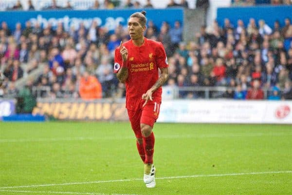 Liverpool's Roberto Firmino celebrates scoring the first equalising goal against Swansea City during the FA Premier League match at the Liberty Stadium. (Pic by David Rawcliffe/Propaganda)