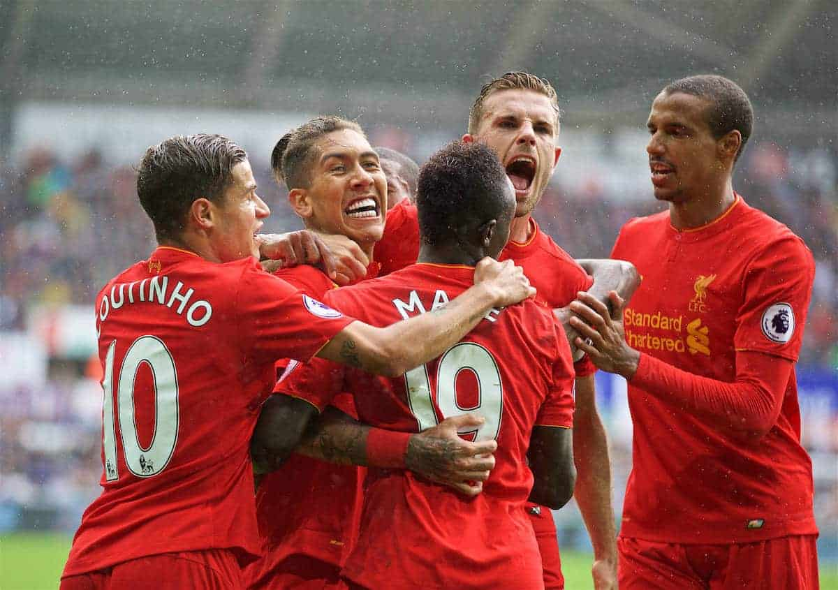 LIVERPOOL, ENGLAND - Saturday, October 1, 2016: Liverpool's Roberto Firmino celebrates scoring the first equalising goal against Swansea City with team-mates Philippe Coutinho Correia, Sadio Mane, captain Jordan Henderson and Joel Matip during the FA Premier League match at the Liberty Stadium. (Pic by David Rawcliffe/Propaganda)