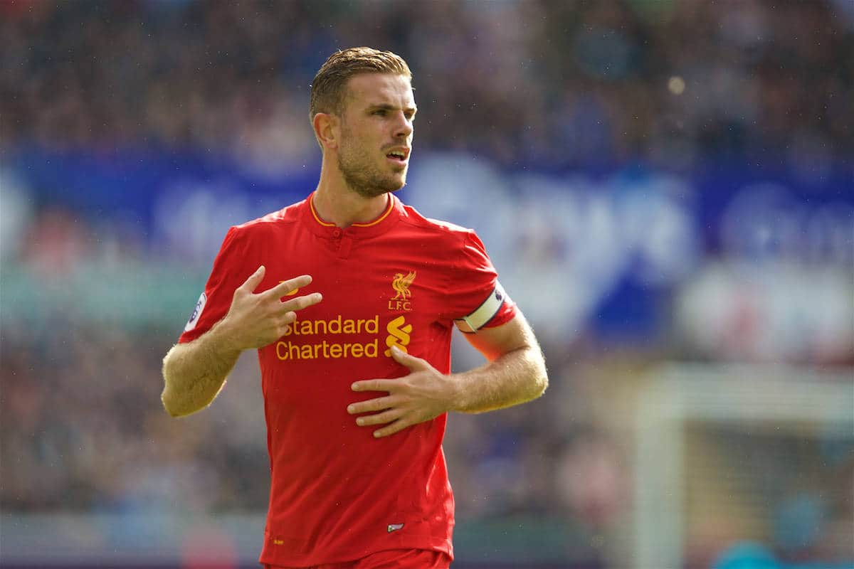 LIVERPOOL, ENGLAND - Saturday, October 1, 2016: Liverpool's captain Jordan Henderson in action against Swansea City during the FA Premier League match at the Liberty Stadium. (Pic by David Rawcliffe/Propaganda)