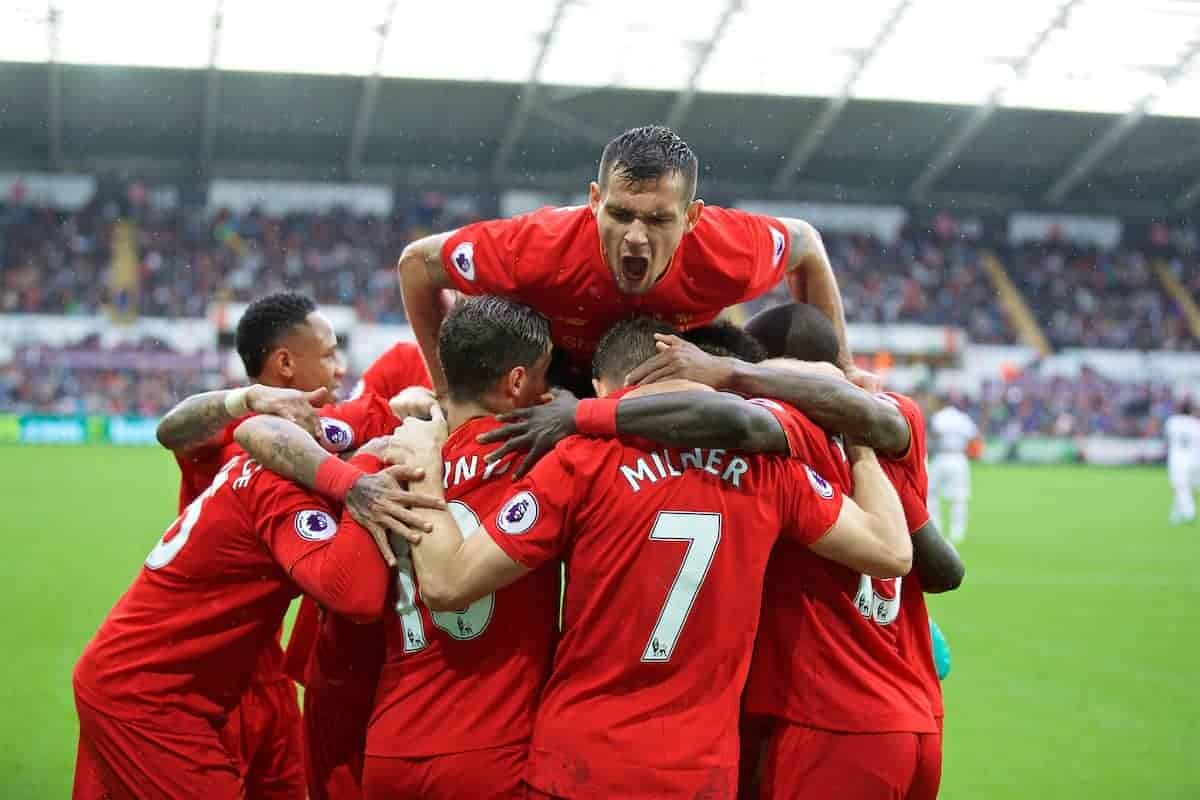 LIVERPOOL, ENGLAND - Saturday, October 1, 2016: Liverpool's James Milner [#7] celebrates scoring the second goal against Swansea City from the penalty spot to make the score 2-1 with team-mates during the FA Premier League match at the Liberty Stadium. (Pic by David Rawcliffe/Propaganda)