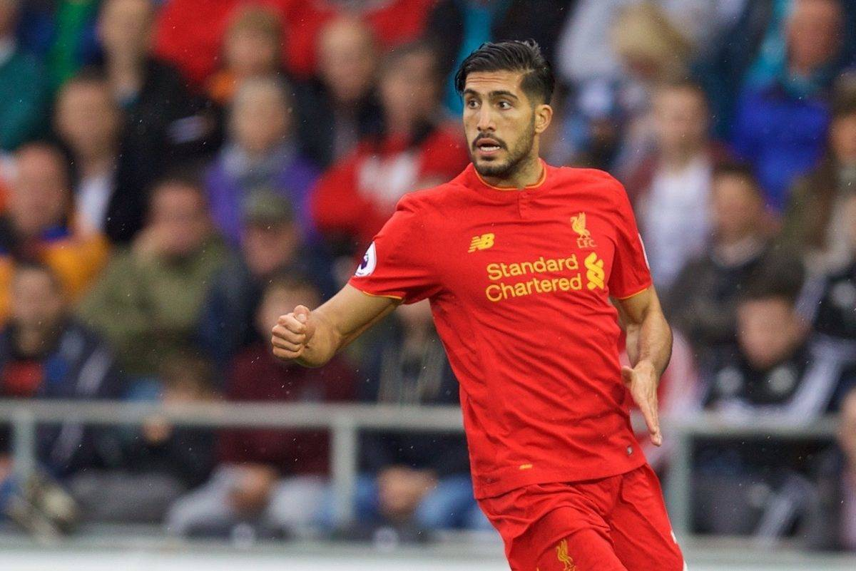 LIVERPOOL, ENGLAND - Saturday, October 1, 2016: Liverpool's Emre Can in action against Swansea City during the FA Premier League match at the Liberty Stadium. (Pic by David Rawcliffe/Propaganda)
