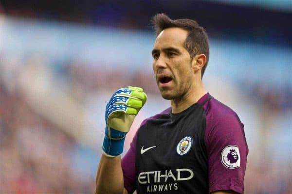 MANCHESTER, ENGLAND - Saturday, October 15, 2016: Manchester City's goalkeeper Claudio Bravo in action against Everton during the FA Premier League match at the City of Manchester Stadium Lane. (Pic by David Rawcliffe/Propaganda)