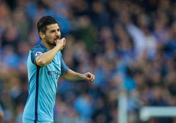 MANCHESTER, ENGLAND - Saturday, October 15, 2016: Manchester City's Manuel Agudo Nolito celebrates scoring the first equalising goal against Everton during the FA Premier League match at the City of Manchester Stadium Lane. (Pic by David Rawcliffe/Propaganda)