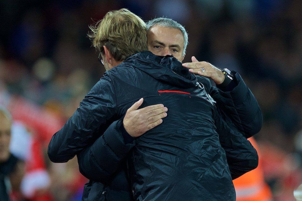 LIVERPOOL, ENGLAND - Monday, October 17, 2016: Liverpool's manager Jürgen Klopp and Manchester United's manager Jose Mourinho embrace the FA Premier League match against Manchester United at Anfield. (Pic by David Rawcliffe/Propaganda)