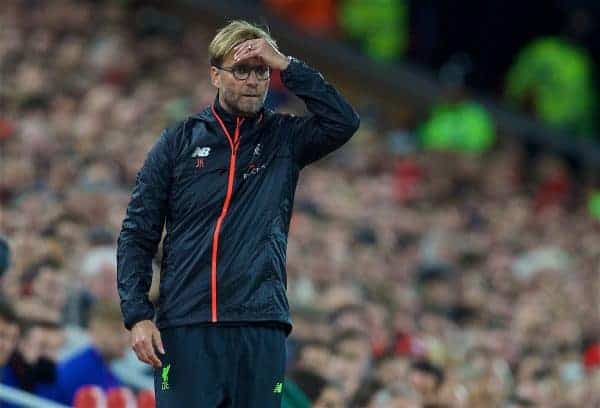 Liverpool's manager Jürgen Klopp during the FA Premier League match against Manchester United at Anfield. (Pic by David Rawcliffe/Propaganda)