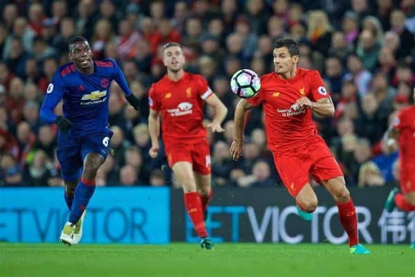 LIVERPOOL, ENGLAND - Monday, October 17, 2016: Liverpool's Dejan Lovren in action against Manchester United's Paul Pogba during the FA Premier League match at Anfield. (Pic by David Rawcliffe/Propaganda)