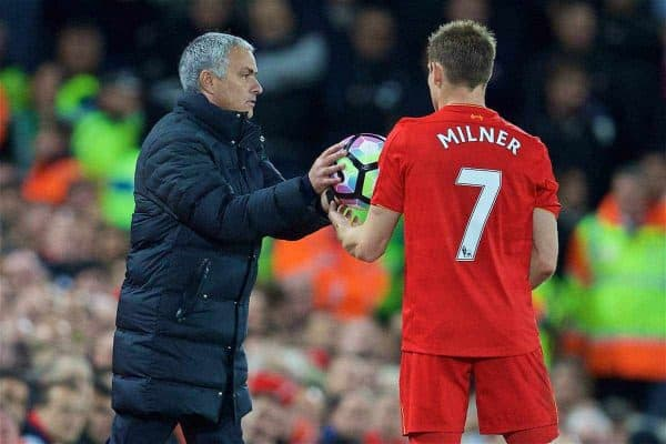 LIVERPOOL, ENGLAND - Monday, October 17, 2016: Manchester United's manager Jose Mourinho hands the ball to Liverpool's James Milner during the FA Premier League match at Anfield. (Pic by David Rawcliffe/Propaganda)
