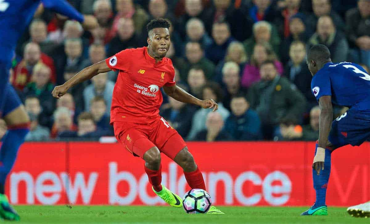 LIVERPOOL, ENGLAND - Monday, October 17, 2016: Liverpool's Daniel Sturridge in action against Manchester United during the FA Premier League match at Anfield. (Pic by David Rawcliffe/Propaganda)