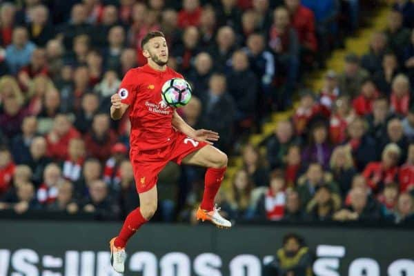 LIVERPOOL, ENGLAND - Monday, October 17, 2016: Liverpool's Adam Lallana in action against Manchester United during the FA Premier League match at Anfield. (Pic by David Rawcliffe/Propaganda)