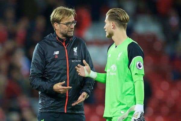LIVERPOOL, ENGLAND - Monday, October 17, 2016: Liverpool's manager Jürgen Klopp and goalkeeper Loris Karius after the goal-less draw with Manchester United during the FA Premier League match at Anfield. (Pic by David Rawcliffe/Propaganda)