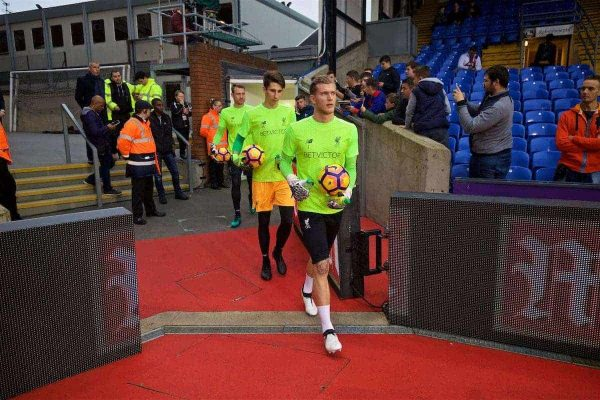 LONDON, ENGLAND - Saturday, October 29, 2016: Liverpool's goalkeeper Loris Karius and goalkeeper Kamil Grabara walk out to warm-up before the FA Premier League match against Crystal Palace at Selhurst Park. (Pic by David Rawcliffe/Propaganda)