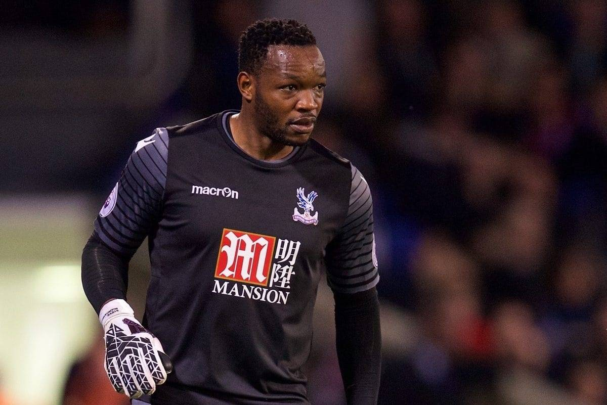 LONDON, ENGLAND - Saturday, October 29, 2016: Crystal Palace's goalkeeper Steve Mandanda in action against Liverpool during the FA Premier League match at Selhurst Park. (Pic by David Rawcliffe/Propaganda)