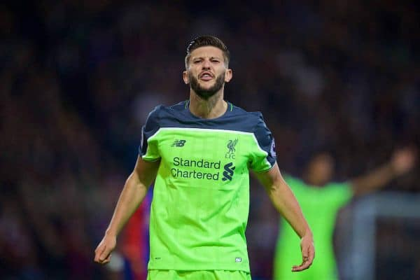 LONDON, ENGLAND - Saturday, October 29, 2016: Liverpool's Adam Lallana argues with the assistant referee against Crystal Palace during the FA Premier League match at Selhurst Park. (Pic by David Rawcliffe/Propaganda)