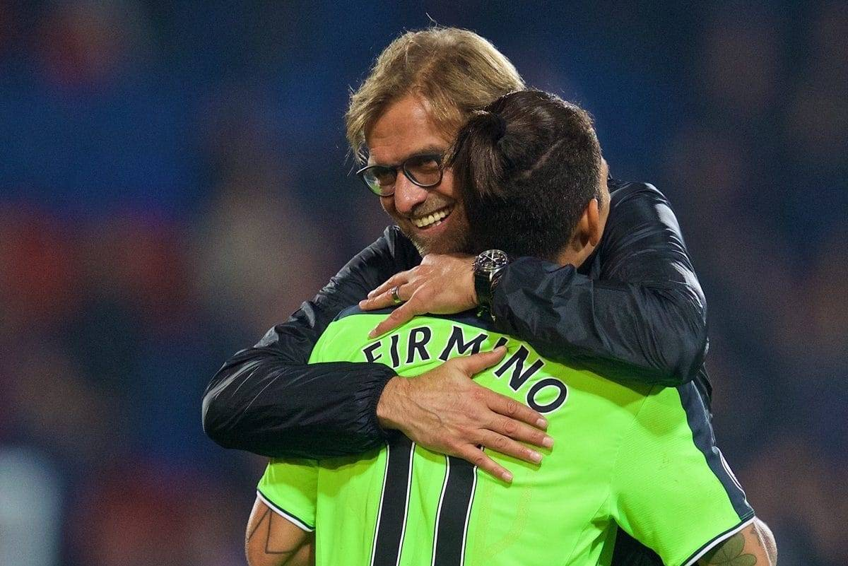 LONDON, ENGLAND - Saturday, October 29, 2016: Liverpool's manager J¸rgen Klopp hugs Roberto Firmino after their 4-2 victory over Crystal Palace during the FA Premier League match at Selhurst Park. (Pic by David Rawcliffe/Propaganda)