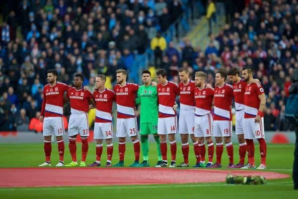 MANCHESTER, ENGLAND - Saturday, November 5, 2016: Middlesbrough players stand to remember those that gave their lives in the Great War, before the FA Premier League match against Manchester City at the City of Manchester Stadium. Antonio Barragán, Adama Traoré, Adam Foresaw, Calum Chambers, goalkeeper Víctor Valdés, Marten de Roon, Ben Gibson, Adam Clayton, Stewart Downing, Marten de Roon, Álvaro Negredo. (Pic by David Rawcliffe/Propaganda)