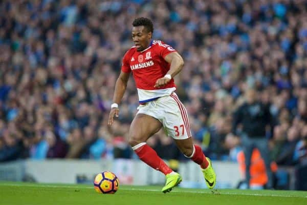 MANCHESTER, ENGLAND - Saturday, November 5, 2016: Middlesbrough's Adama Traoré in action against Manchester City during the FA Premier League match at the City of Manchester Stadium. (Pic by David Rawcliffe/Propaganda)