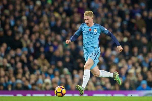 MANCHESTER, ENGLAND - Saturday, November 5, 2016: Manchester City's Kevin De Bruyne in action against Middlesbrough during the FA Premier League match at the City of Manchester Stadium. (Pic by David Rawcliffe/Propaganda)