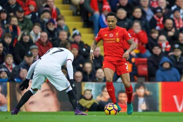 LIVERPOOL, ENGLAND - Sunday, November 6, 2016: Liverpool's Nathaniel Clyne in action against Watford during the FA Premier League match at Anfield. (Pic by David Rawcliffe/Propaganda)