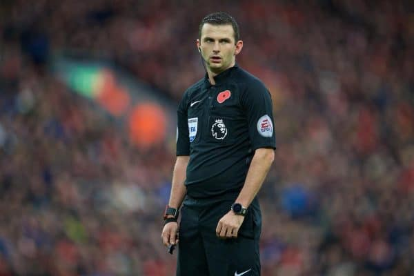 LIVERPOOL, ENGLAND - Sunday, November 6, 2016: Referee Michael Oliver Watford during the FA Premier League match between Liverpool and Watford at Anfield. (Pic by David Rawcliffe/Propaganda)