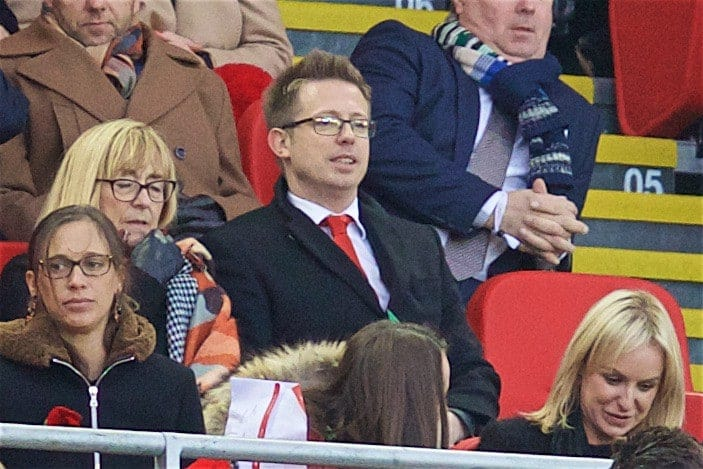 LIVERPOOL, ENGLAND - Sunday, November 6, 2016: Liverpool's new Director of Football Michael Edwards watches from the Director's Box as Liverpool take on Watford during the FA Premier League match at Anfield. (Pic by David Rawcliffe/Propaganda)