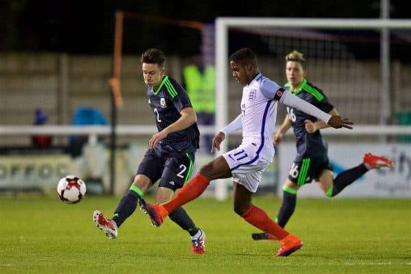Wales' Cameron Coxe in action against England's Ryan Sessegnon during the UEFA European Under-19 Championship Qualifying Round Group 6 match at the Nantporth Stadium. (Pic by Gavin Trafford/Propaganda)