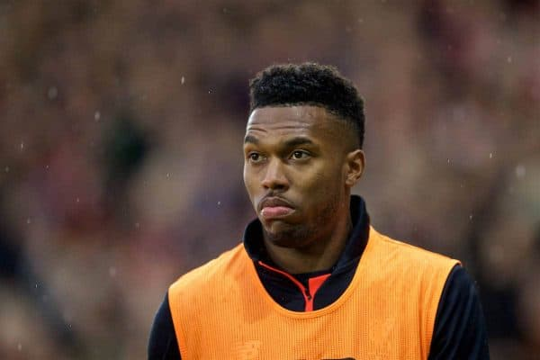 Liverpool's substitute Daniel Sturridge warms-up during the FA Premier League match against Southampton at St. Mary's Stadium. (Pic by David Rawcliffe/Propaganda)