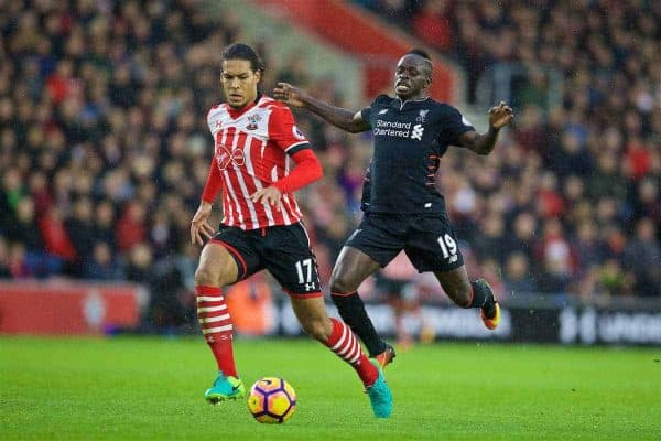 Liverpool's Sadio Mane in action against Southampton's Virgil Van Dijk during the FA Premier League match at St. Mary's Stadium. (Pic by David Rawcliffe/Propaganda)