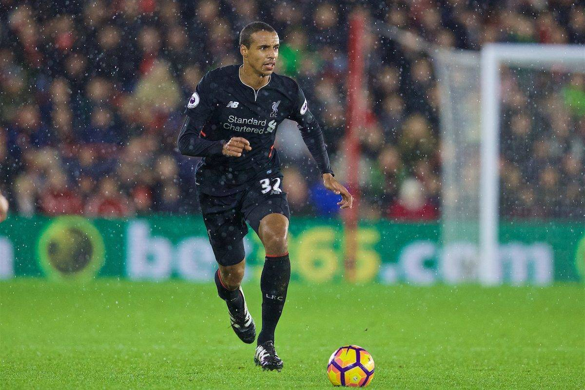 SOUTHAMPTON, ENGLAND - Saturday, November 19, 2016: Liverpool's Joel Matip in action against Southampton during the FA Premier League match at St. Mary's Stadium. (Pic by David Rawcliffe/Propaganda)